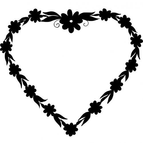 Love heart flower frame