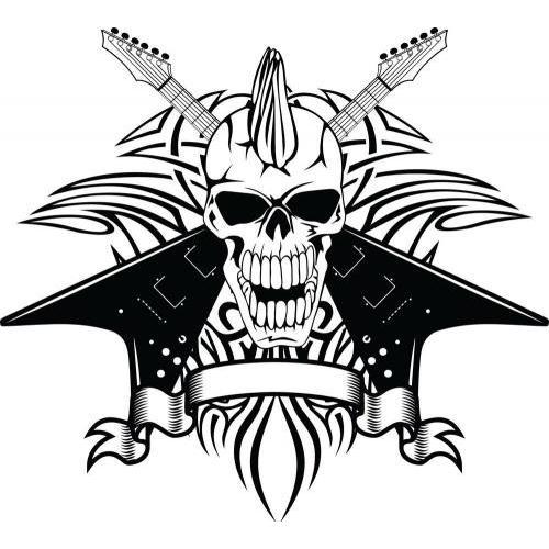 Guitar Mohawk skull