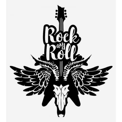 Rock my roll guitar skull