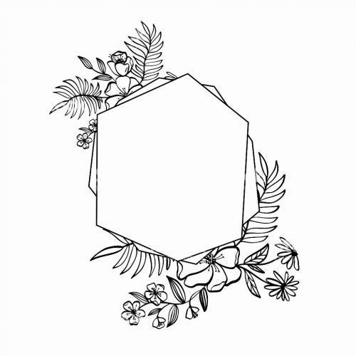 Floral geometric frame