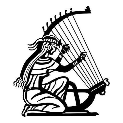 Ancient lady playing harp