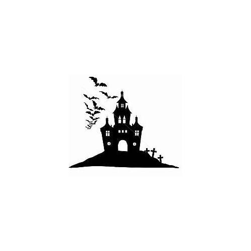 Creepy spooky castle with bats