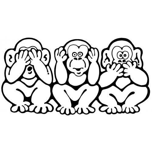 Cute see no evil monkeys
