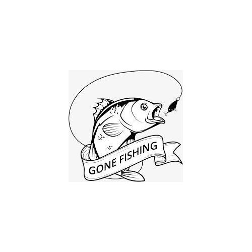Gone fishing fish sign plaque