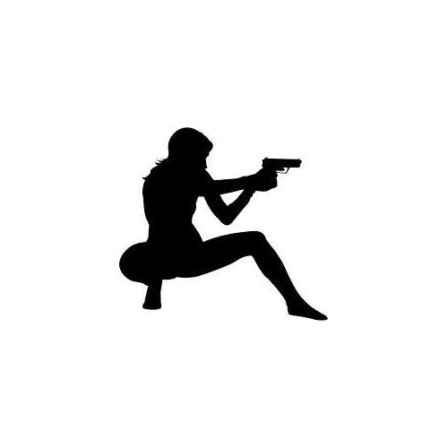Lady shooting gun