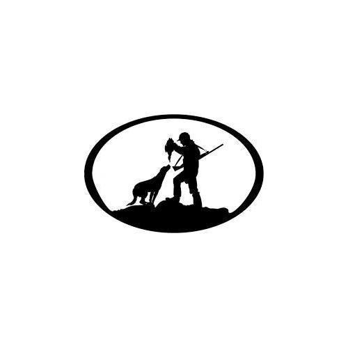 Man dog hunting oval plaque