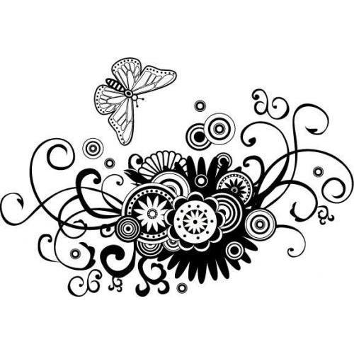 Pretty zen flower butterfly