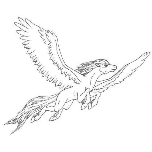 Leaping flying pegasus