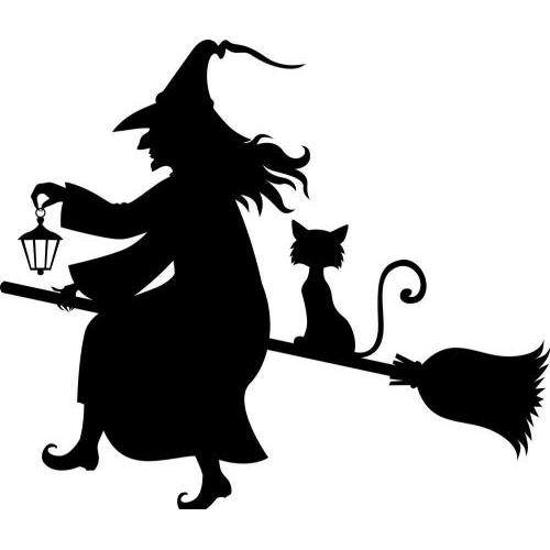 Witch and cat on broom