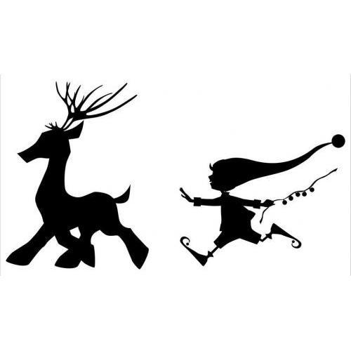 Cute Christmas elf chasing reindeer