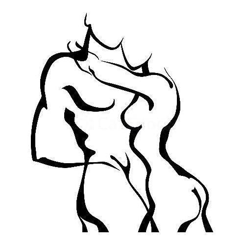 Abstract stencil sexy couples embrace