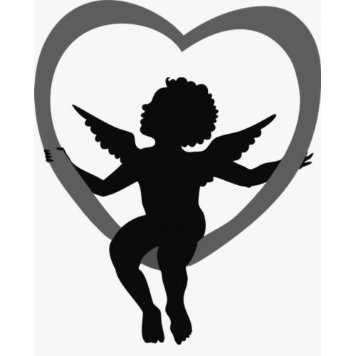 Cupid sitting on heart