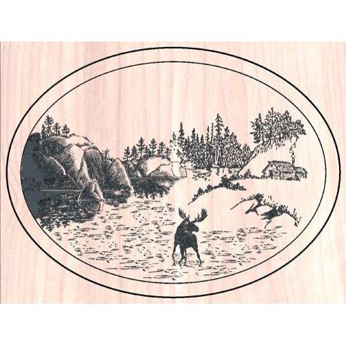 Oval Scene with Deer