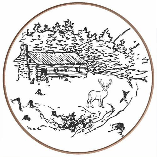 Round Cabin Scene with Deer