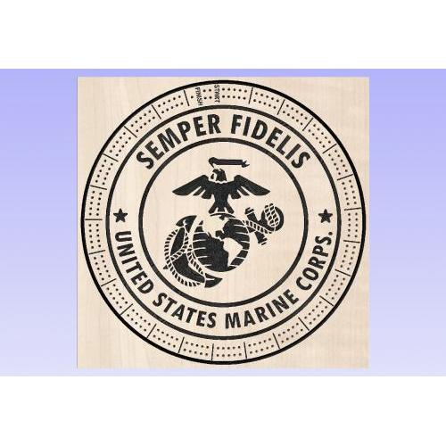 US Marine Corps Cribbage Board - Round