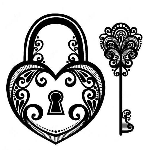 Zen padlock heart and key