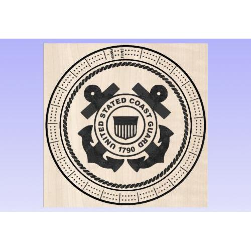 US Coast Guard Cribbage Board - Round