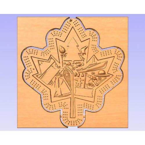 Maple Leaf Shaped themed Crib board no toolpaths (Vcarve Pro 9.5+compatible)
